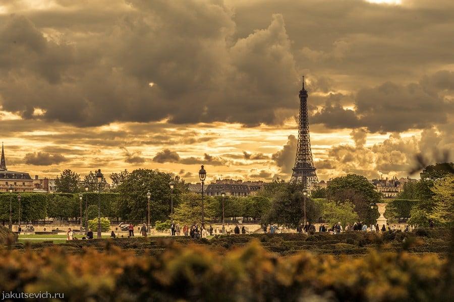 красивый вид на эйфелеву башню вечером