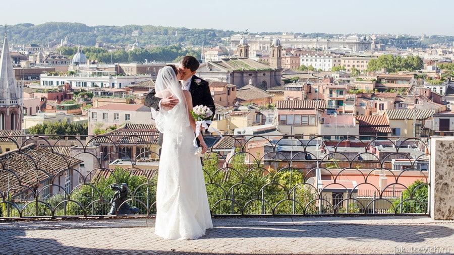 Встреча жениха и невесты на вилла Боргезе