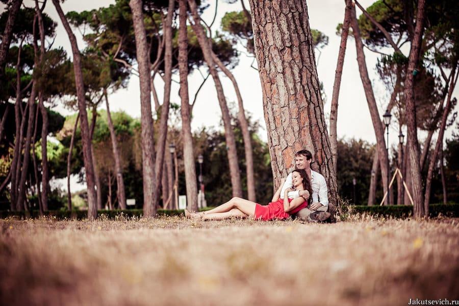 Пинии в парке Вилла Боргезе - фотосессия в Риме