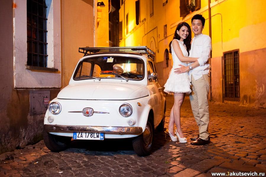 Вечерняя фотосессия в Риме - фиат 500 символ Италии
