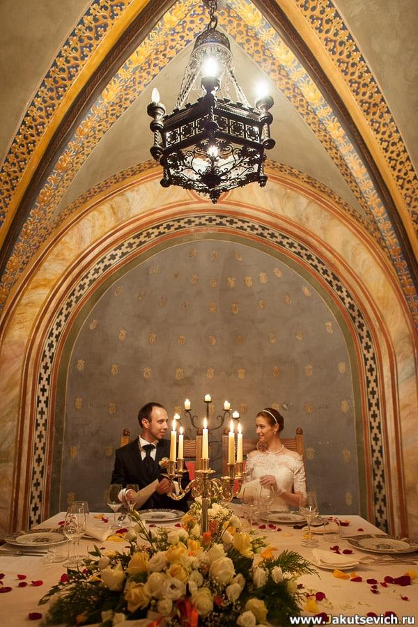 свадебный ужин в итальянском замке