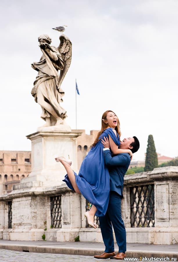 мост святого Ангела в Риме свадебная фотосессия январь