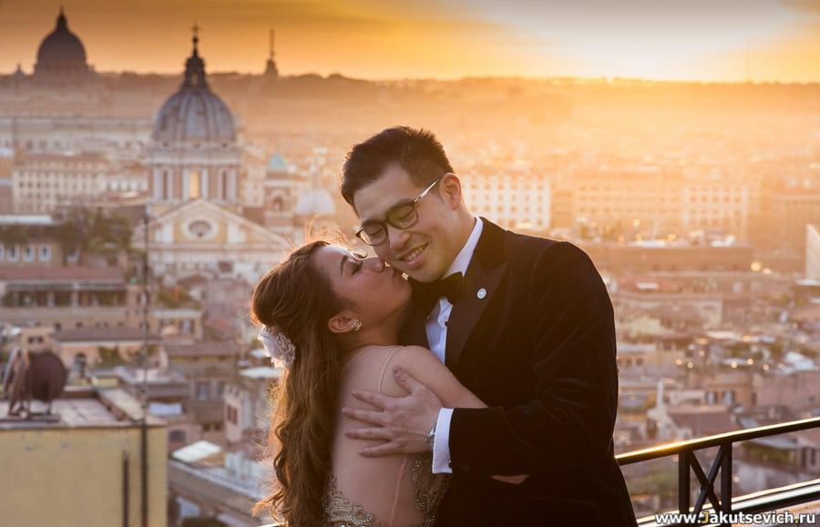 Романтическая фоосессия в Риме на закате