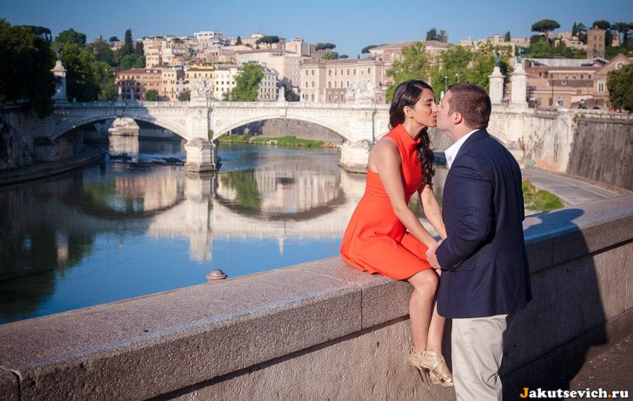 Река Тибр вид на Рим с моста святого Ангела
