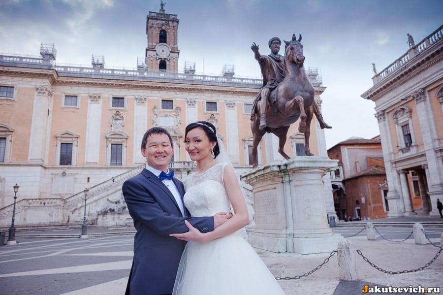 Капитолийская площадь в Риме свадебная фотосессия