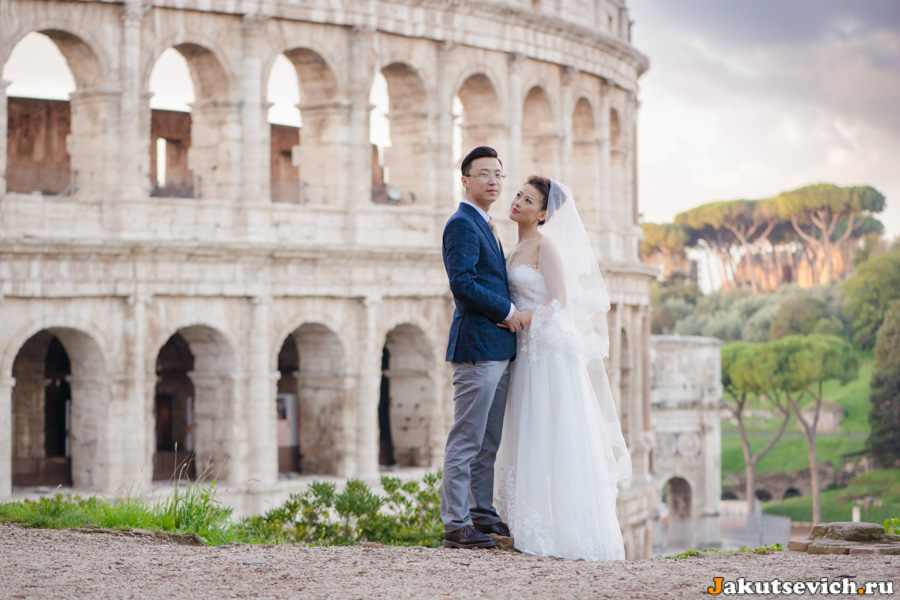 Свадебная фотосессия на смотровой площадке у Колизея