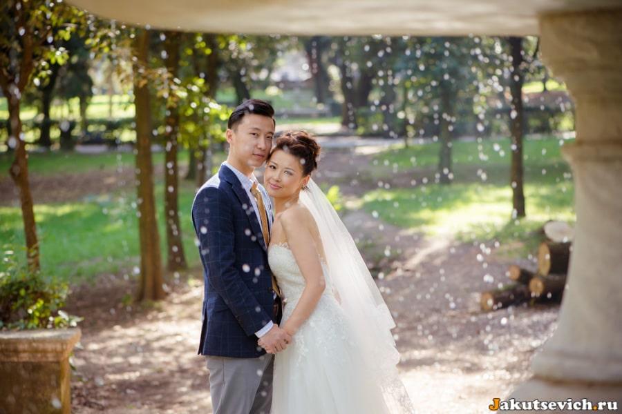 Жених и невеста, фотосессия на вилла Боргезе