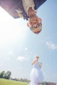 креативный свадебный портрет жениха и невесты