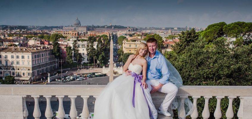 свадебное путешествие в Италию. Панорама Рима.