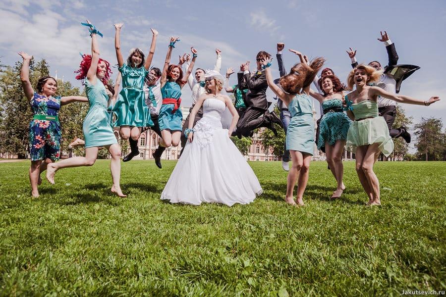 Мятная свадьба в Москве - фотосессия с гостями