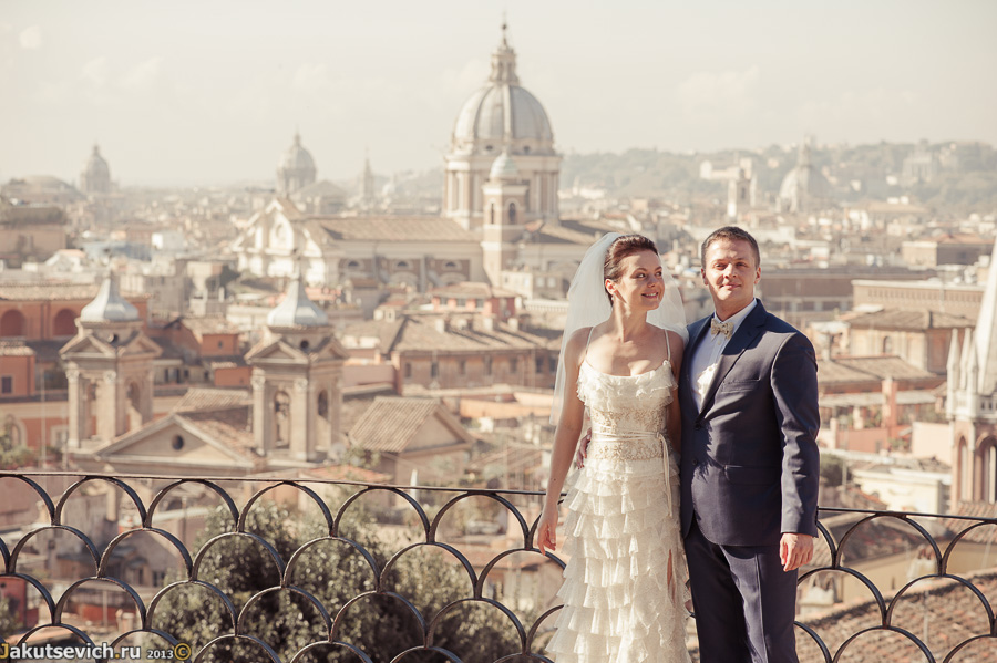 Фото на фоне панорамы Рима