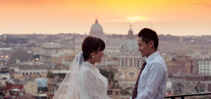 Свадебная фотосессия в Риме в марте: из Японии с любовью