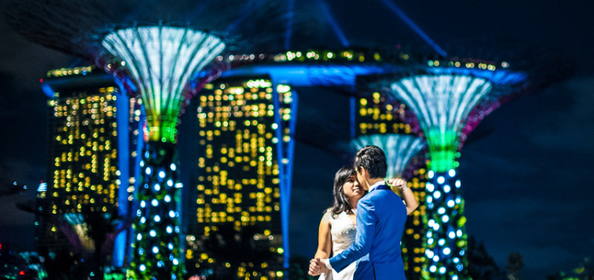 Свадьба в Сингапуре: фотосессия в садах Gardens by the Bay