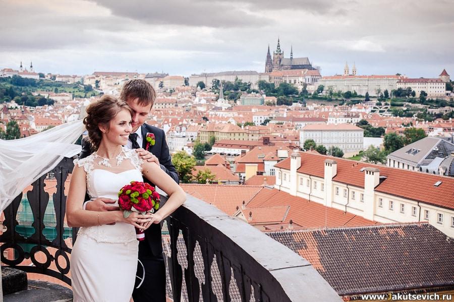 Свадьба мечты в Праге вид на красные крыши