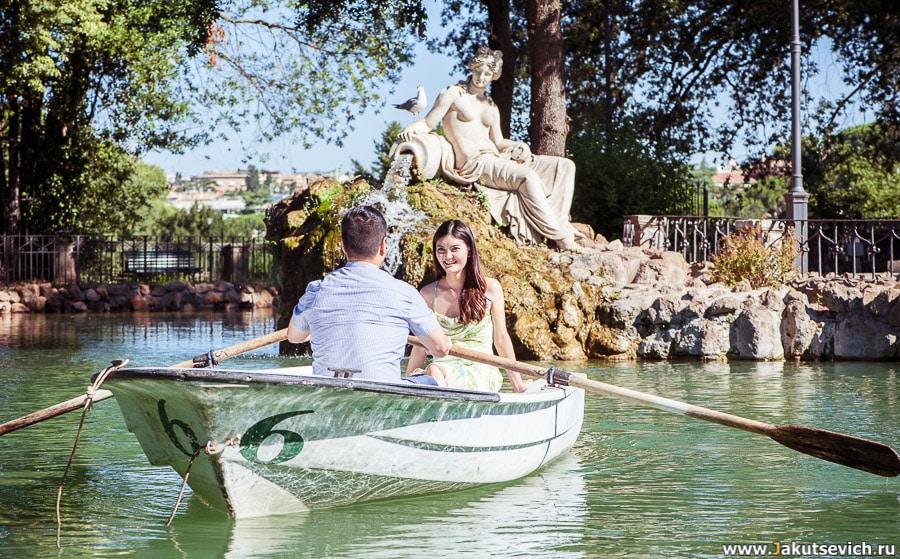 Озеро на вилла Боргезе фотосессия влюбленные