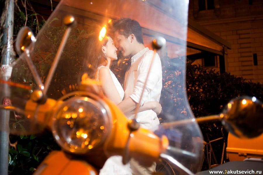 Love Story фотосессия в апреле в ночном Риме для Серены и Раяна