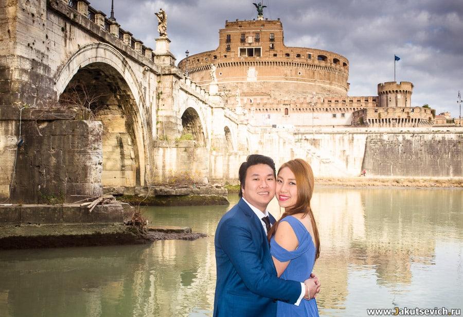 Свадебная фотосессия у замка святого Ангела в январе