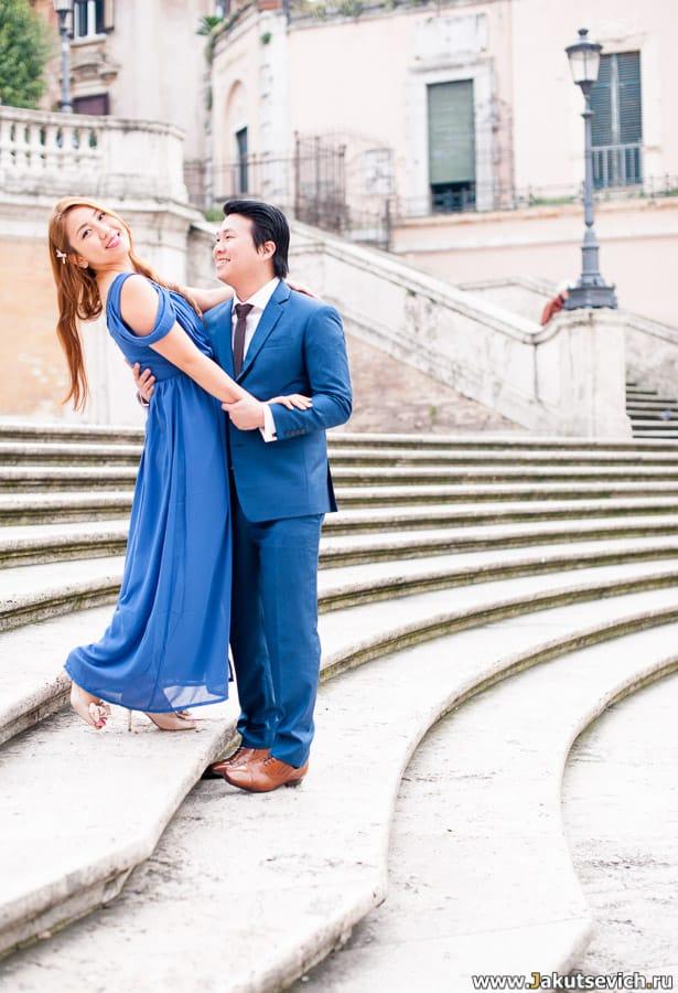 Свадебная фотосессия на Испанской лестнице в Риме