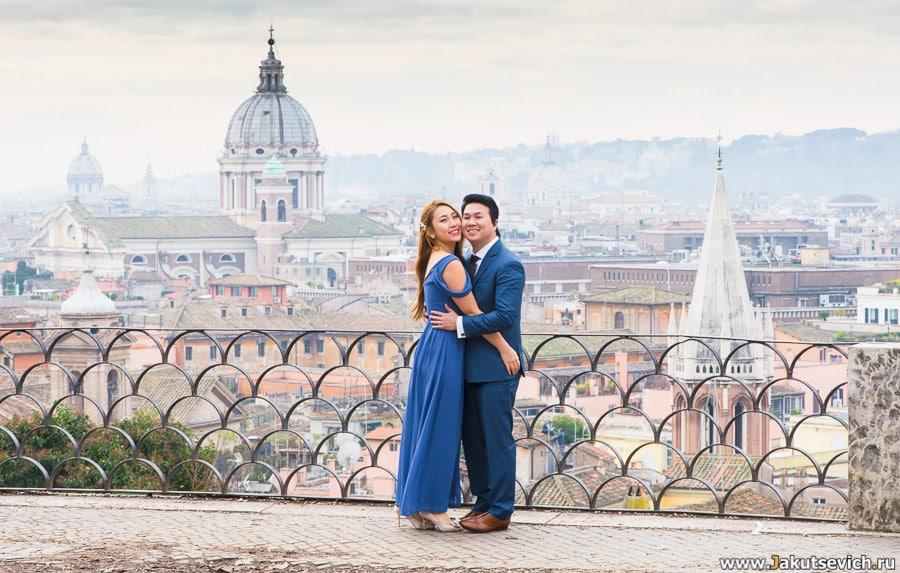 Панорама Рима свадебная фотосессия