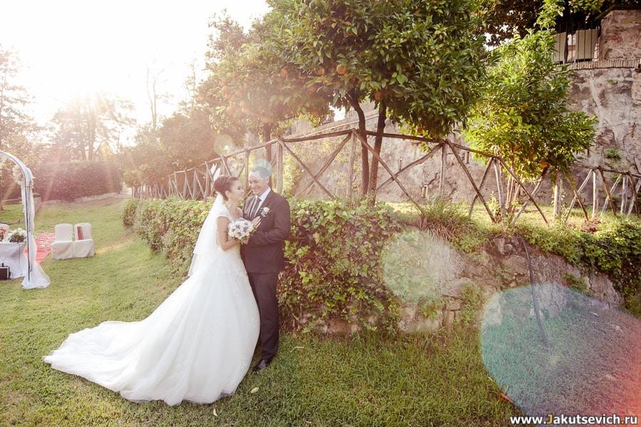 Свадебная фотосессия в апельсиновом саду