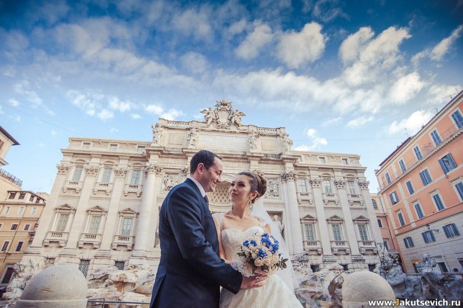 Фонтан Треви в Риме свадебная фотосессия