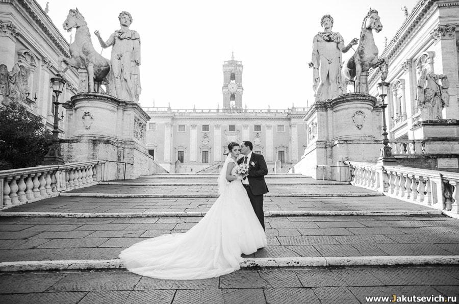 Капитолийская площадь в Риме жених и невеста