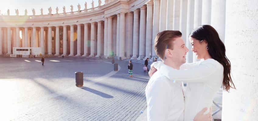 Помолвка в Ватикане фотосессия Терры и Бьёрна в апреле