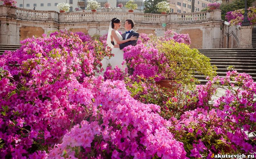Цветы на Испанской лестнице в апреле в Риме свадебная фотосессия