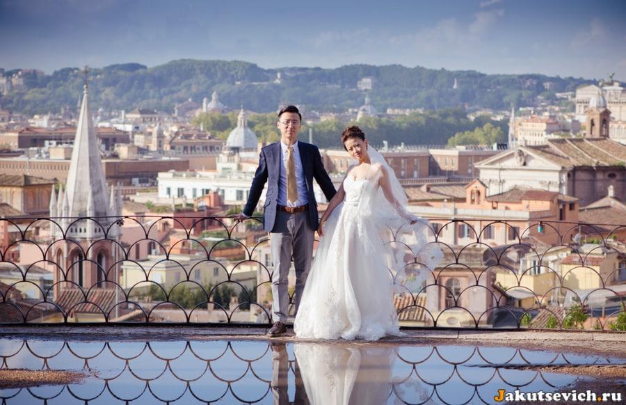 Смотровая площадка на вилла Боргезе фотосессия для жениха и невесты