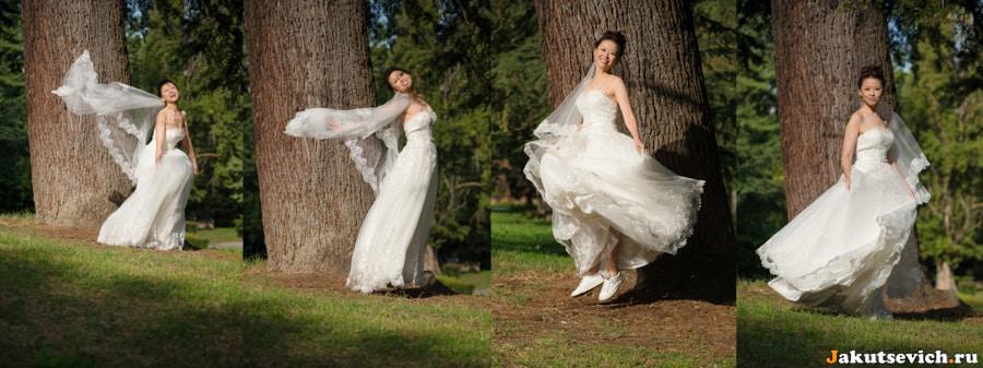 Фотосессия для невесты в парке вилла Боргезе в Риме